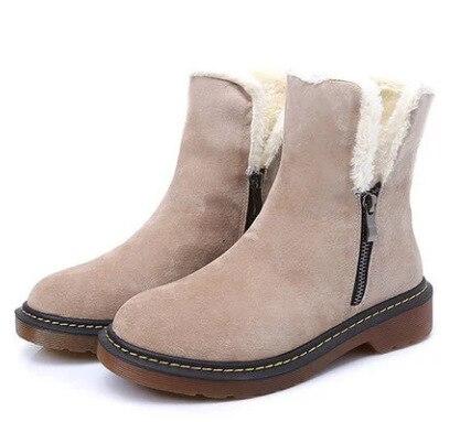 2018 Nouveau Blanc Bottes Vache En Daim Femmes De Fourrure Bottes Zipper Épaississement Cheville Bottes Zapatos De Mujer Chaud Neige Bottes 34 -43