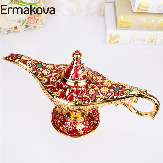 ERMAKOVA Large size Colorful Metal Genie Magic Lamp Retro Wishing Oil Lamp Pot Incense Burner Home Decor Collection Souvenir 6