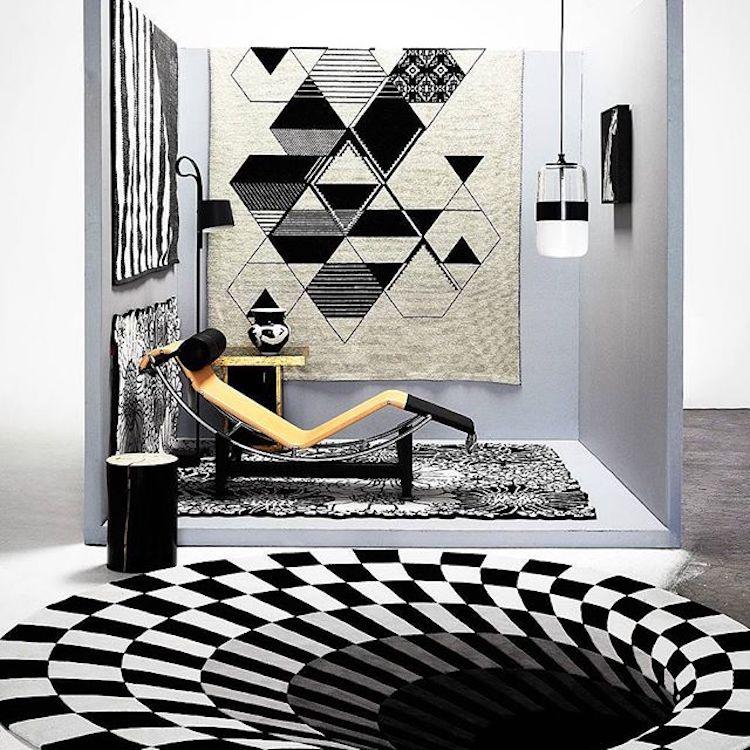 Современный Лаконичный акриловый большой ковер для гостиной, спальни, черный Дизайнерский ковер в виде ловушки для спальни, модный коврик на заказ для примерочной комнаты