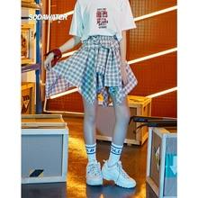 SODAWATER Girl Casual Skirts Womens 2019 Summer Streetwear Plaid Asymmetrical Skirt 100% Cotton Elastic Waist Mini 9418SG