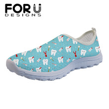 FORUDESIGNS 3D Cartoon Dental Print Casual Women Brand Flats Soft Summer Mesh Slip-on Sneakers Super Light Loafers Shoes