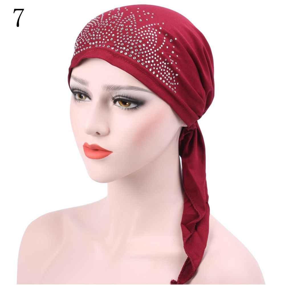 2018 модный Хиджаб Женский мусульманский хиджаб Джерси горячий сверлильный колпачок внутренний подшарф Головной Убор Шляпы подарок бесплатная доставка