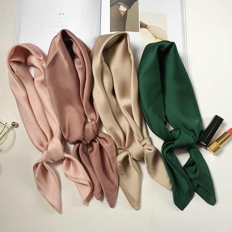 Marca de luxo sacos lenço de seda feminino cachecol moda senhora quadrada cachecóis macios xales pashmina cor sólida bandana