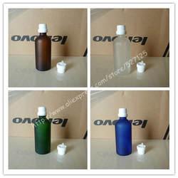 100 мл матовый прозрачный/зеленый/коричневый/синий стеклянная бутылка с Белый Anti-Theft пластиковый колпачок, бутылка с эфирным маслом