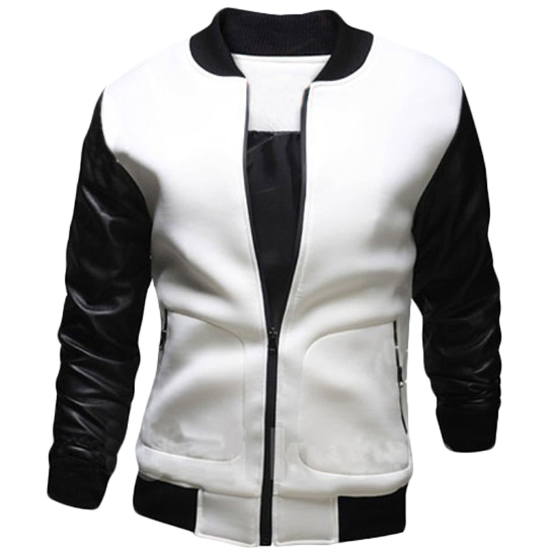 New bomber jacket men spring fashion black pu leather for Mens white leather shirt