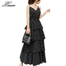 Womens V-neck sling sexy dot print dress chiffon high waist slim strap