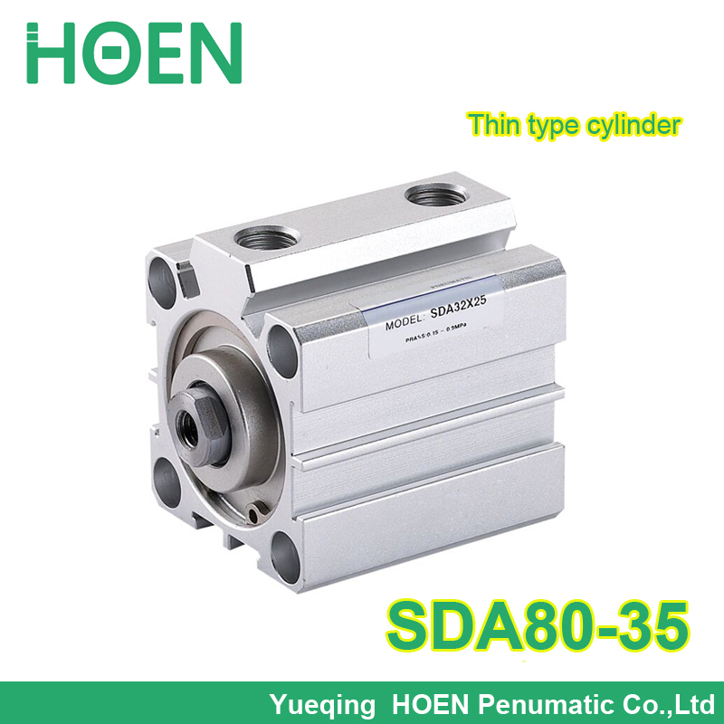 SDA80*35 Airtac type SDA series Pneumatic Compact Cylinder 80mm Bore 35mm Stroke 3/8 port size double action SDA80-35 sda16 20 rcm5 compact cylinder sns pnematic parts airtac type actuator air cylinder hydraulic cylinder sda series m5 0 8