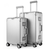 100% Aluminum luggage metal spinner hand rolling luggage 20 Aluminum suitcase on wheels