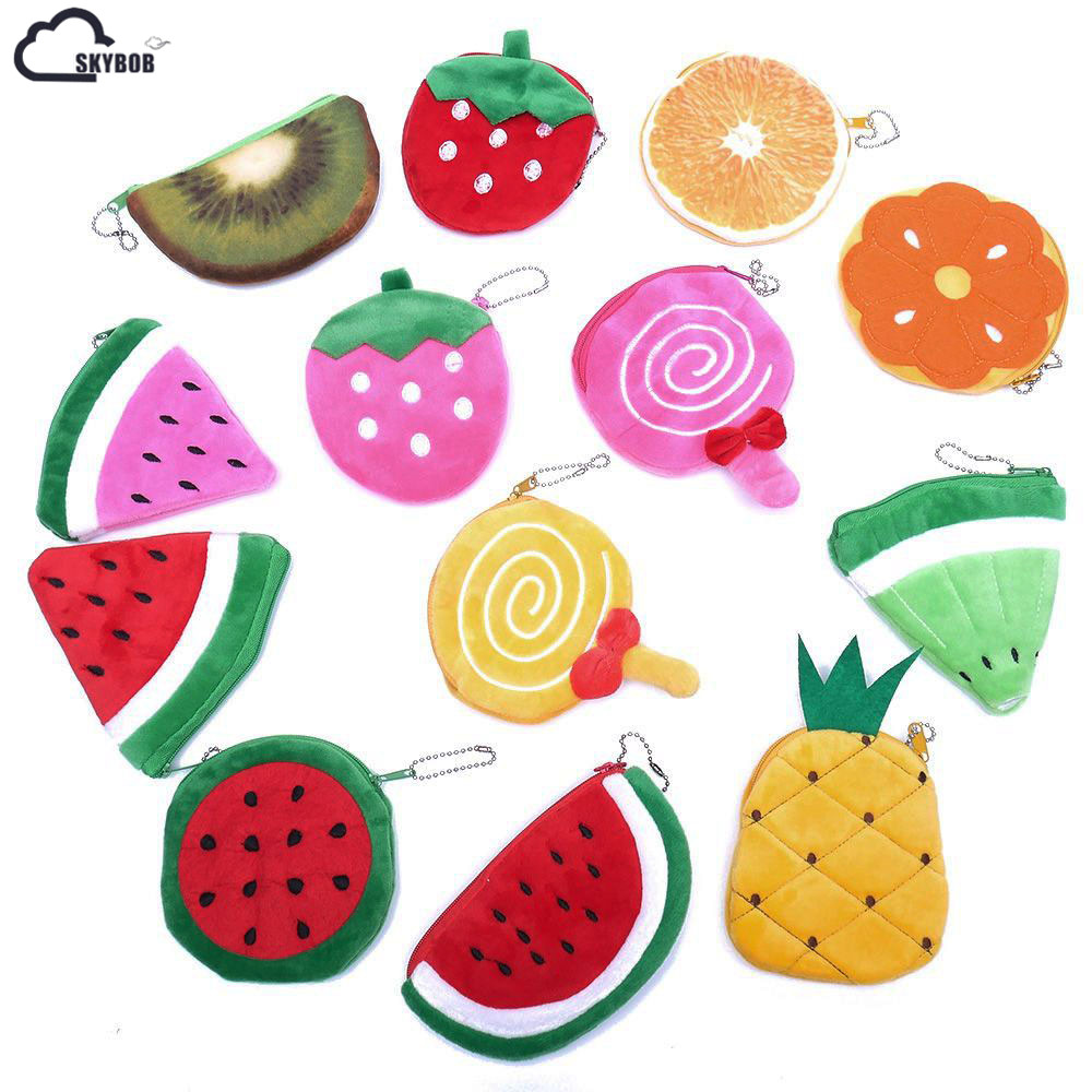Kawaii Fruits Plush Wallet woman Mini Coin Purse Zipper Small Change Wallet Women Money Bag Girl Bag Mini Short Coin wallet wall