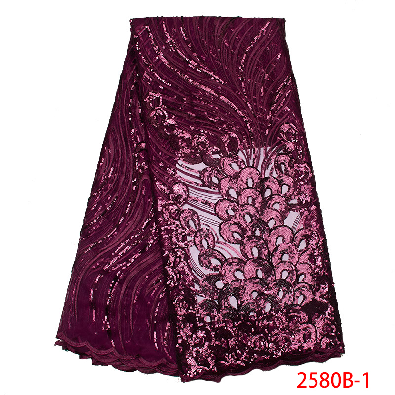 African Lace Fabric 2019 High Quality Lace Hot Sale Tulle Mesh Net With Sequins And Beads For Wedding Party Dress KS2580B-1