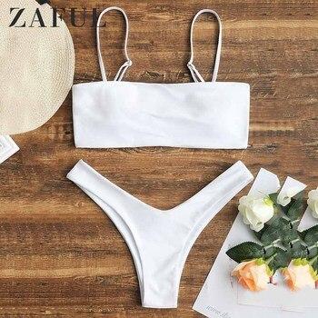 ZAFUL Bikini Cami High Cut Bikini Set Elastic Wire Free Solid Swim Suit Beach Holiday Bathing Suit Women Two Piece Swimwear 2020 plain cami bikini set