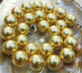 "Free shipping!new 2015 Fashion Style diy 14mm Golden South Sea Shell Pearl Necklace 18""   JT6217"