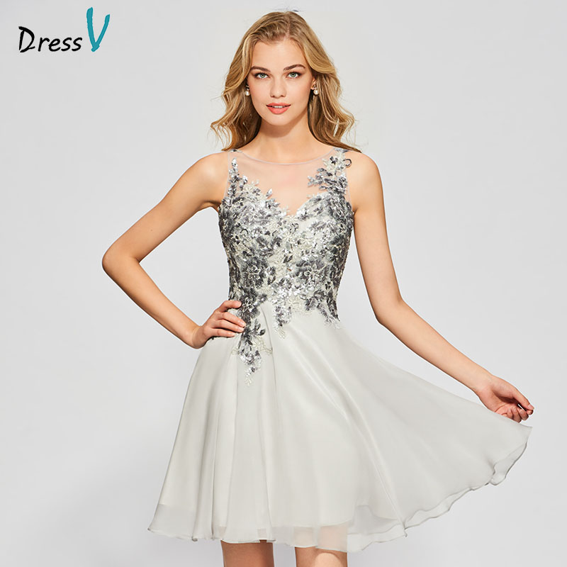 Dressv gray white elegant homecoming dress a line sleeveless appliques button short mini chiffon homecoming&graduation dresses