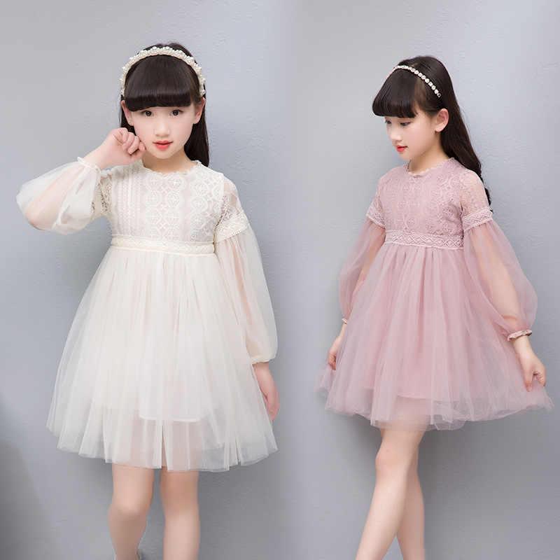 85e8cdbafc7 2018 Детские платья для девочек милые длинные Фонари рукавом Кружева  Девушки бальное Одежда для взрослых праздничное