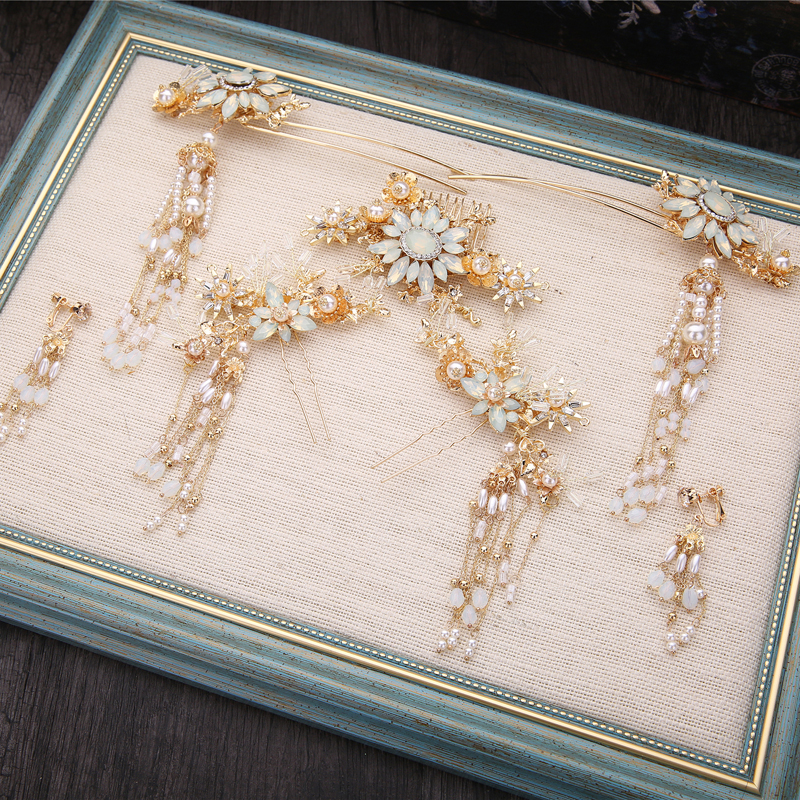 new Chinese headdress pearl hair stick combs suit Golden Crystal Hair Brides costume wedding hair accessoriesnew Chinese headdress pearl hair stick combs suit Golden Crystal Hair Brides costume wedding hair accessories