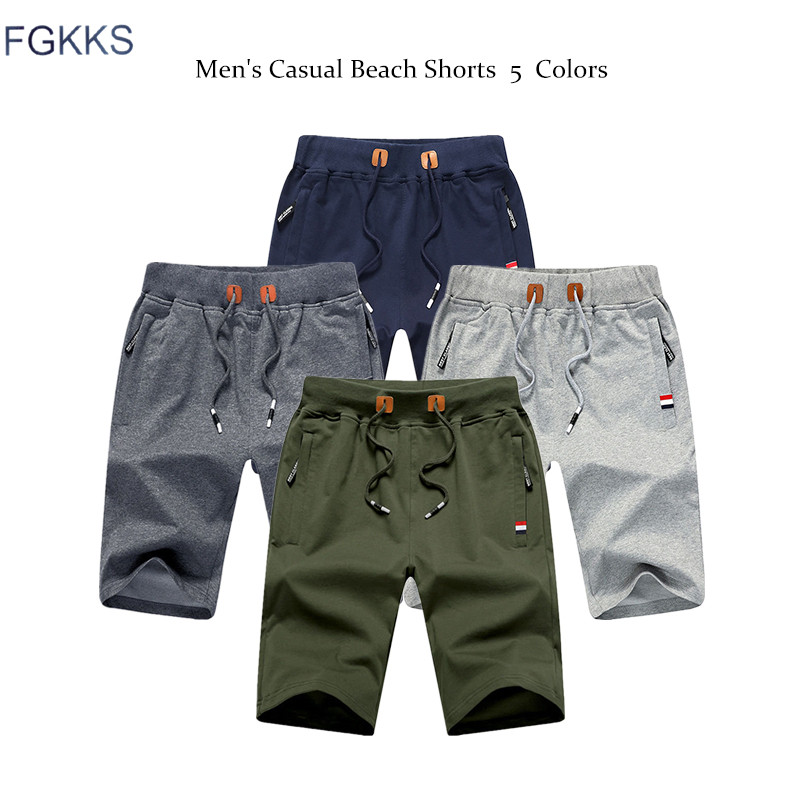 FGKKS Quality Brand Men Casual Shorts 2019 Summer Male Fashion Casual Short Men's Solid Color Fitness Breathable Shorts