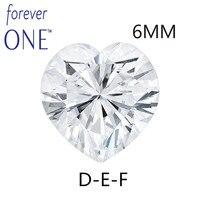 Чарльз Colvard навсегда одно сердце сократить 0,8 карат 6x6 мм DEF Цвет Муассанит без огранки алмазный камень ВВС отличный крой тесты положительный