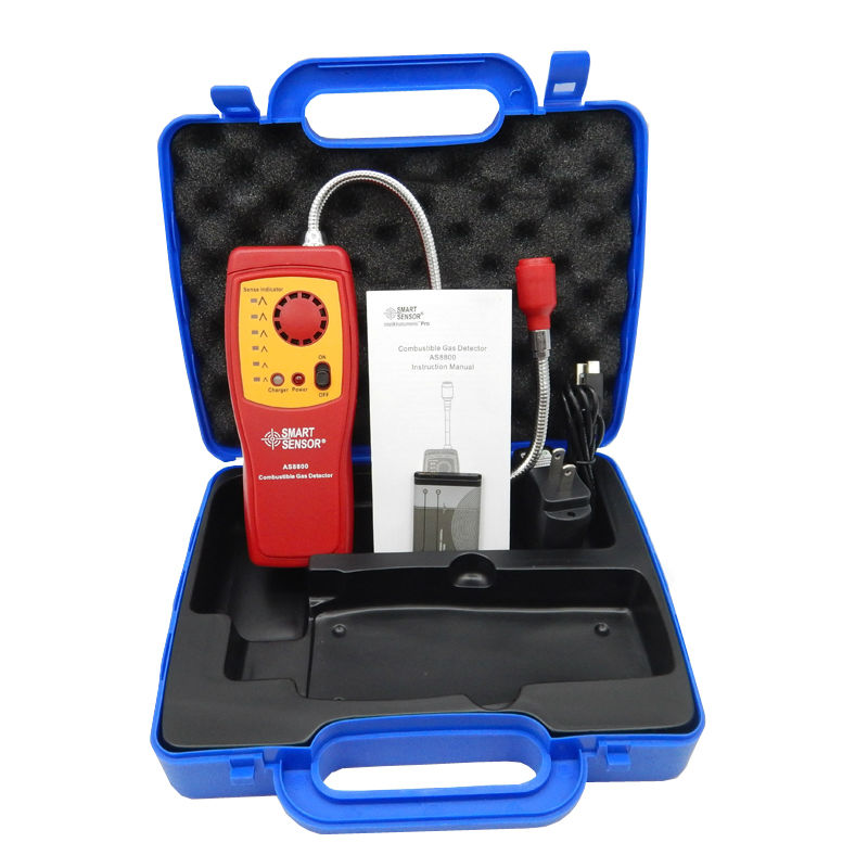 100% Smart sensor combustible gas analyzer hand-held port flammable gas Leak Detector with Sound Light Alarm + battery+Box