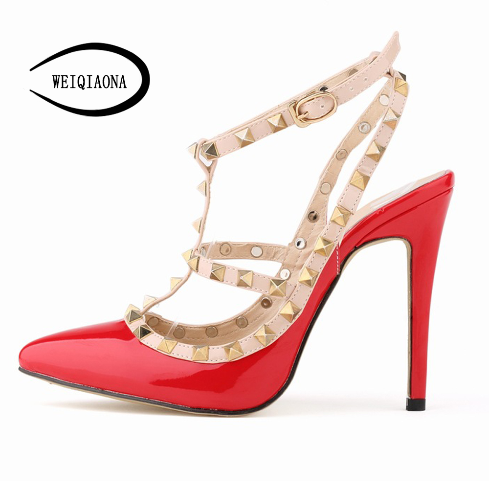 WEIQIAONA Fashion Design Red Patent Leather T-Strap Pumps Women Rivets High Heels Ladies wedding shoes hollow Party shoes weiqiaona european 2018 women new fashion show leather snake skin rhinestone flowers high heel sandalss sexy ladies party shoes