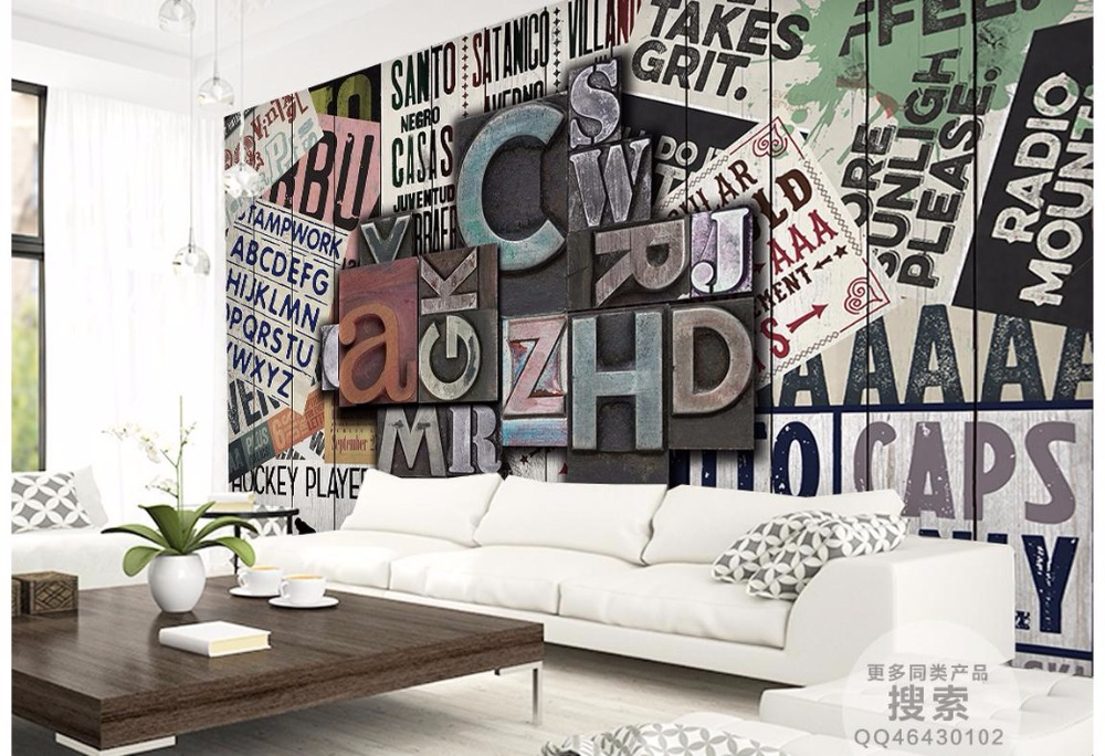 3D wallpaper custom 3d picture murals 3d wall paper mural Stereo metal letter wallpaper Retro background wall room wallpaper