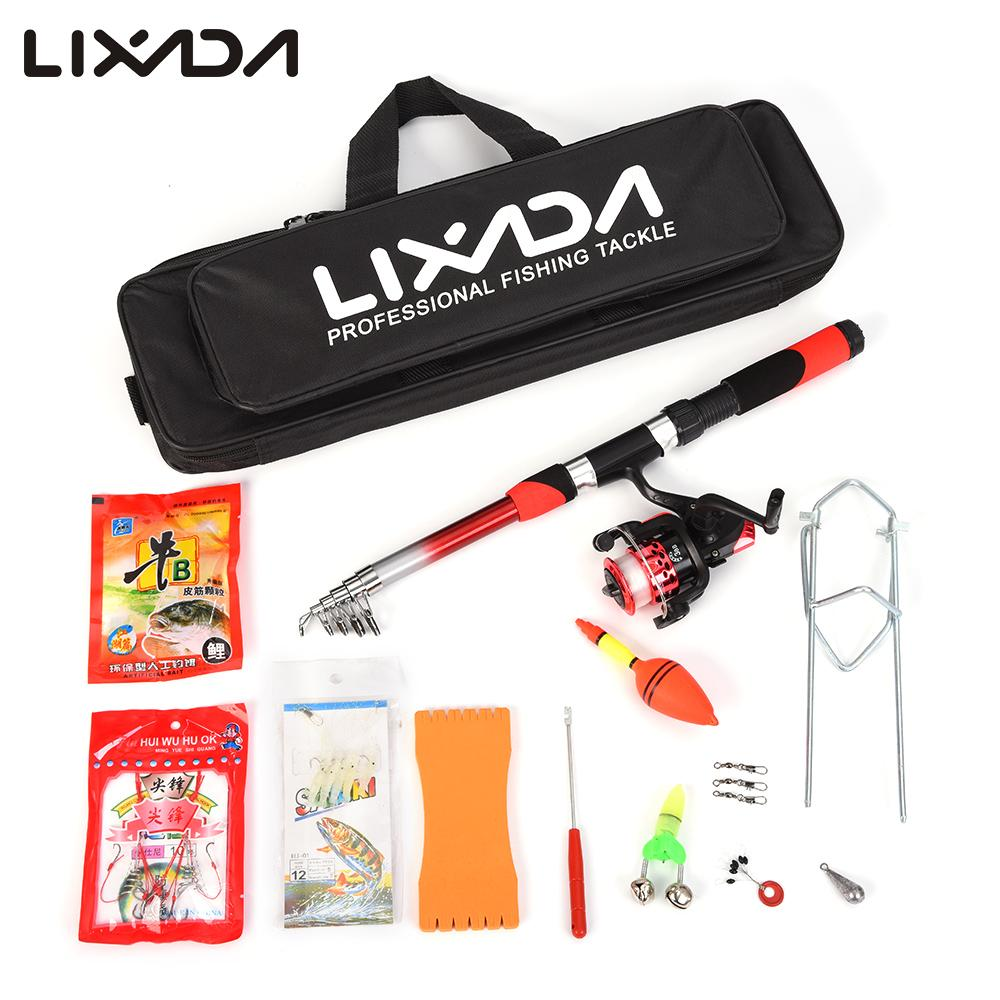 Lixada Rod Combo Fishing Tackle Set with 2.1m Telescopic Fiberglass Spinning Fishing Reel Baits Hooks Bag Fishing Pole Rod Set(China)