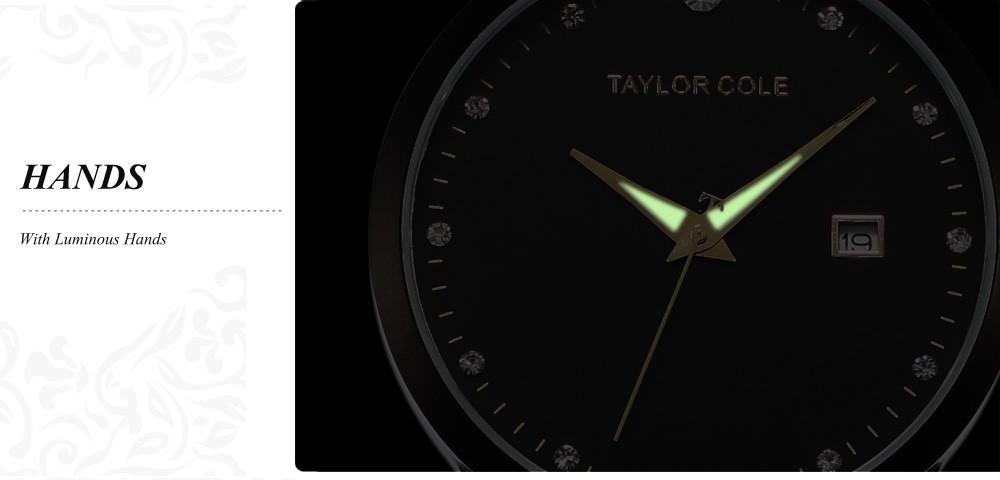 226b5213bef luxo Marca Taylor Cole Preto Cinta de Aço Inoxidável Data Relogio feminino  Echo Montres Quartzo Senhora Mulheres Se Vestem Relógios TC022