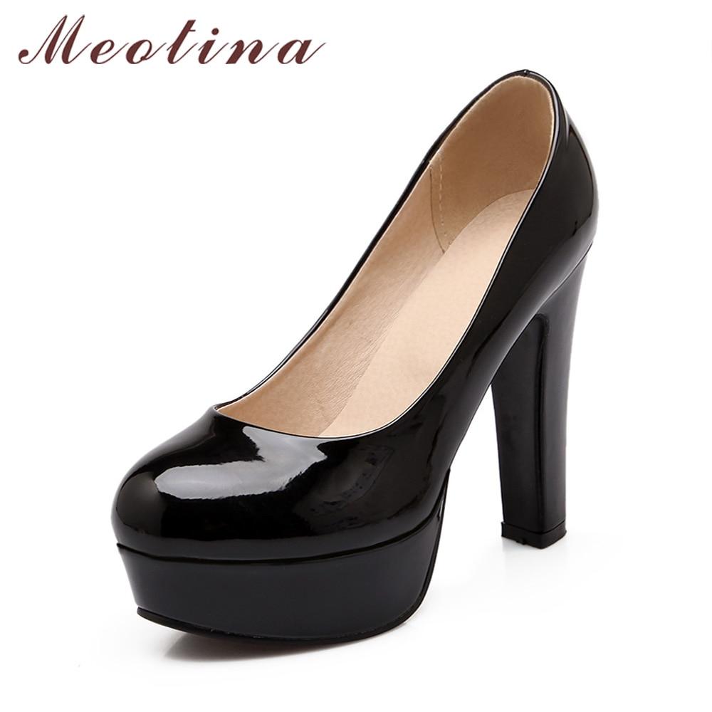 pas mal 103a3 0be96 € 21.31 48% de réduction|Meotina chaussures femme grande taille 45 46  talons hauts escarpins plateforme chaussures bout rond sans lacet fête ...