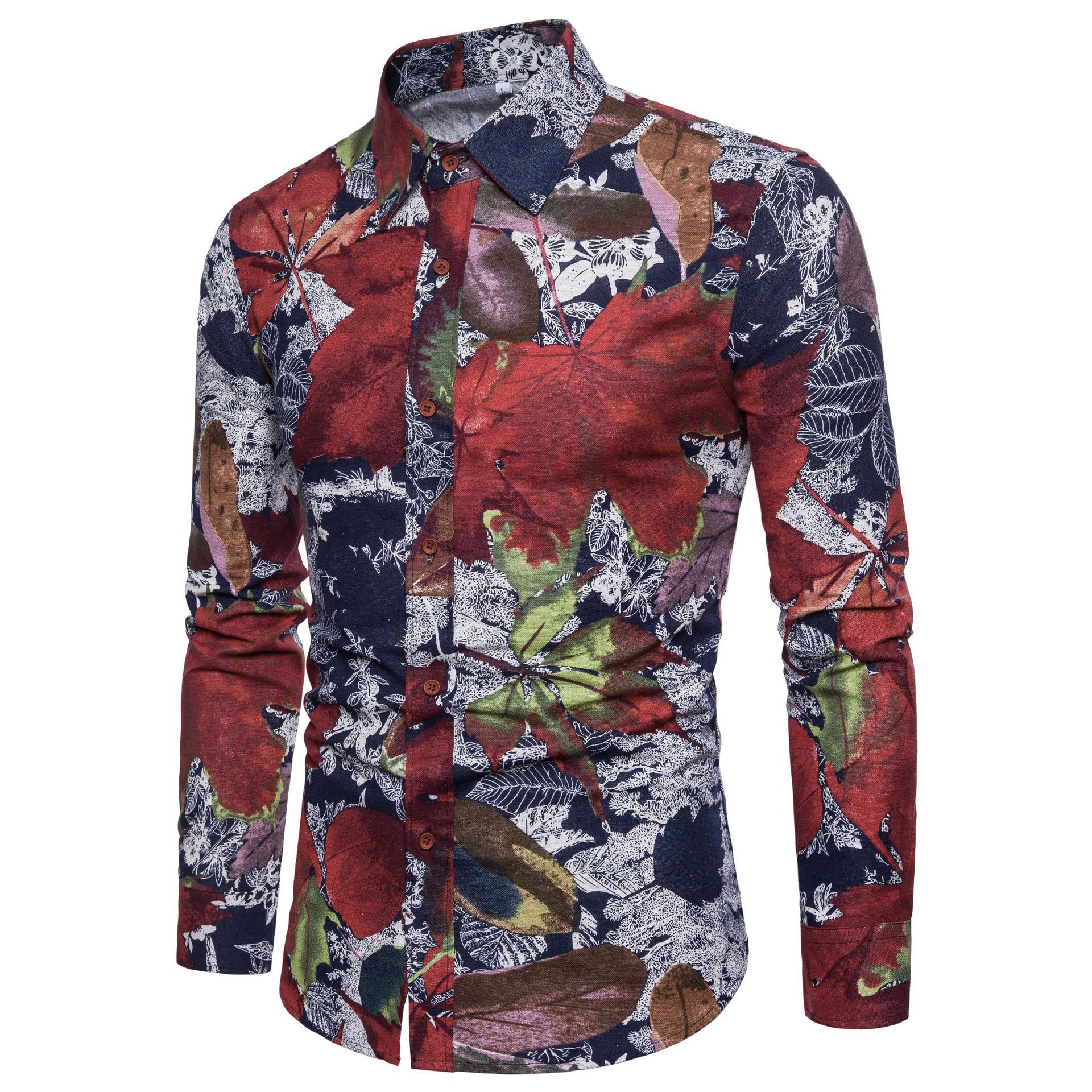 Mens Fashion Trend Flower Shirt Spring Print Shirt Brand Flax Casual