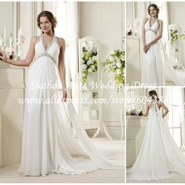Y Beach Wedding Dress Chiffon White Halter Pleat Flowy Long For Party Ai259