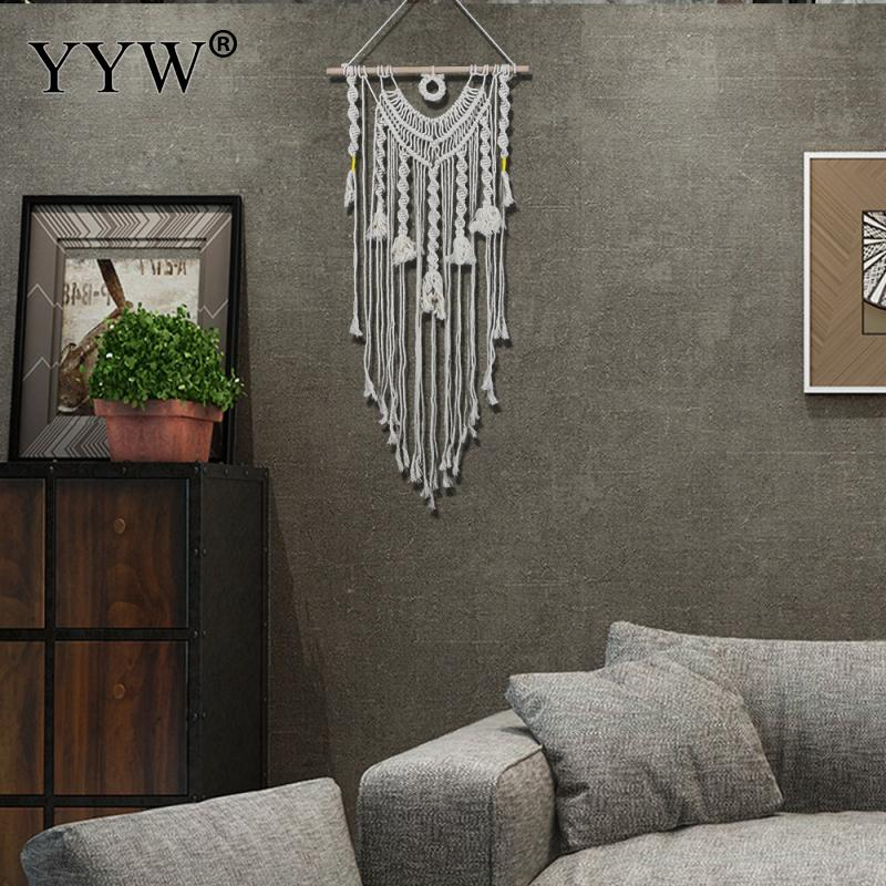 2pcs New Hand Knotted Macrame Wall Art Handmade Cotton Hanging Tapestry With Lace Fabrics Bohemian Wedding Decorations
