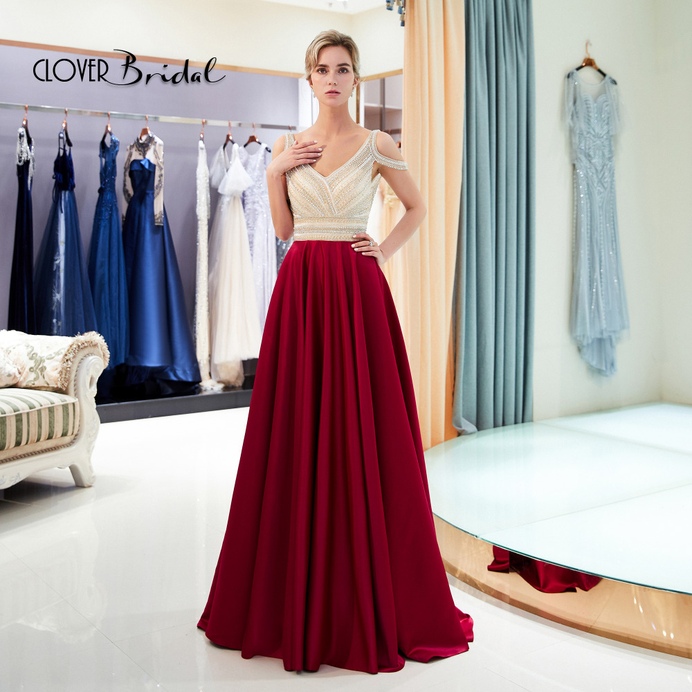 A-lijn satijn V-hals kralen gala jurken crystals beaded top A-line satin skirt   prom     dress   2018 new long women special occasion