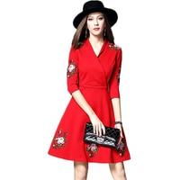 סגנון מערבי באיכות גבוהה 2018 הגעה חדשה שמלת מסיבה אלגנטית אופנה באביב נקבת שמלת רקמה מזדמנים נשים חמה למכירה