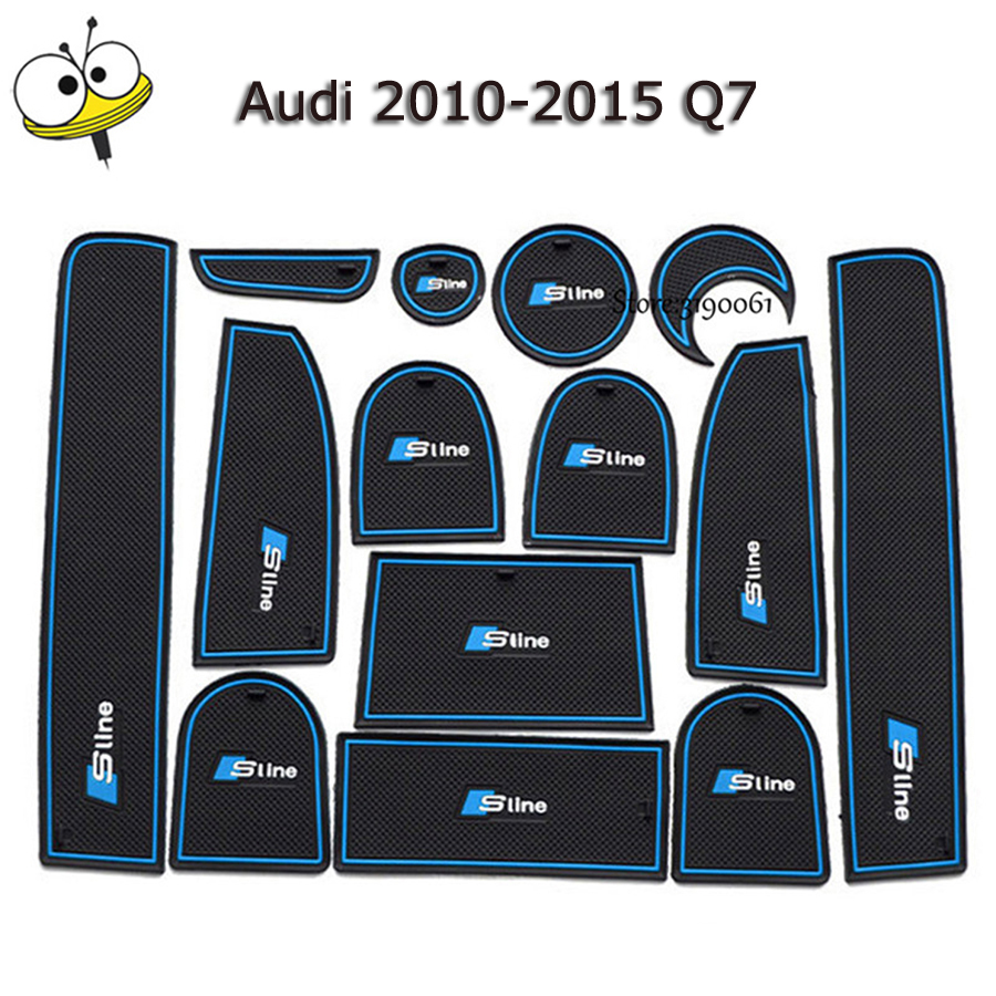 For Audi Sticker Car Interior Accessories Rubber Auto Luminous Door Pad Anti-Slip Cup Holder Mat Cushion For Audi 2010-2015 Q7 for toyota corolla 2007 2013 anti slip rubber cup cushion door mat 11pc 2008 2010 2011 e140 e150 accessories car styling sticker