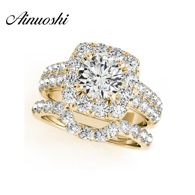 AINUOSHI 925 Sterling Silver Yellow Gold Color Lover Ring Sets Sona 1ct Round Cut Halo Bridal
