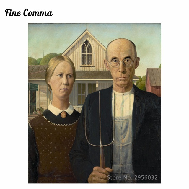 American Gothic 1930 By Grant Wood Hand Painted Oil Painting Reproduction Replica Copy Wall Art