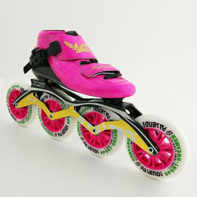 LUTU nouvelle chaussure en ligne grandes roues plein carbone patins professionnels chaussures de patinage de vitesse enfant hommes patin à roulettes bottes adultes femmes