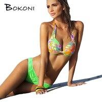 2016 Sexy Bikinis Colorful Flowers Swimming Suits Women Swimsuit Bathing Suit Swim Halter Top Bikini Set