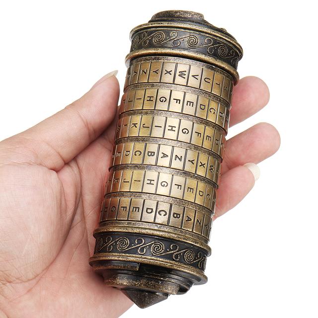 Caja de regalo de cumpleaños cilindro de Código Da alfabeto bloqueo rompecabezas con 2 anillos juguetes educativos