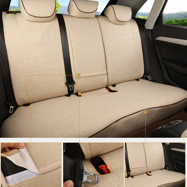 CARTAILOR Car Seat Cover Custom For 2011 Mitsubishi Pajero Sport Covers Linen Cloth Seats Protector Accessories Set
