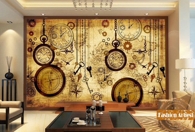 Custom vintage travel world map wallpaper mural clock key compass custom vintage travel world map wallpaper mural clock key compass pocket watch tv sofa bedroom living gumiabroncs Gallery