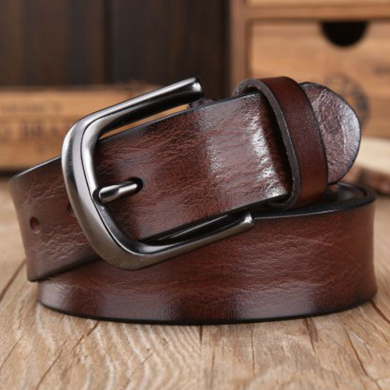 2018 casual black pin buckle men's strap luxury full grain genuine leather belts for men fashion shells designer waist belt