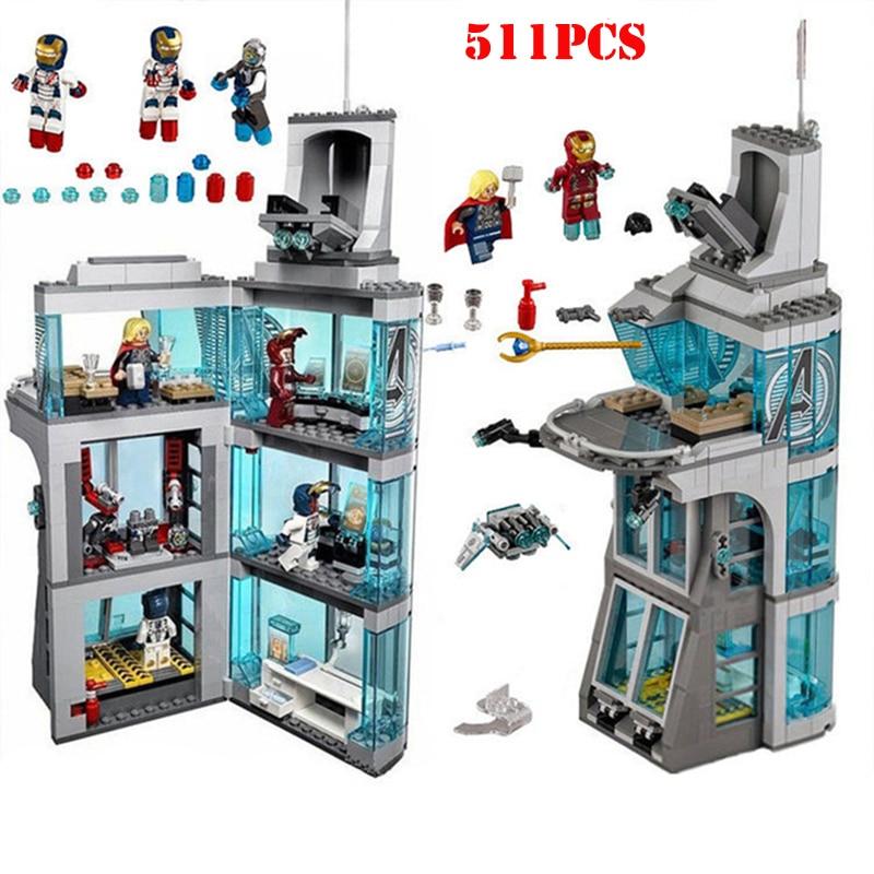 511Pcs Marvel Super Hero Iron Man Attack On Avenger Tower Building Blocks Technic Enlighten Bricks Children Toys Birthday Gift