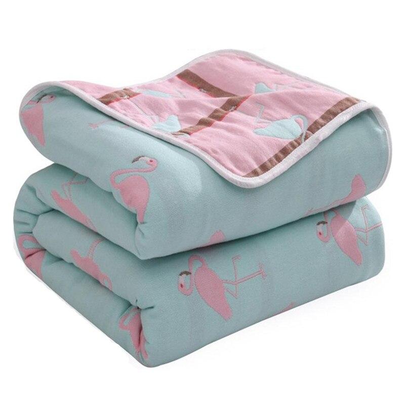 Nouveau-né été 150x200 cm lit housse de couette 100% Muslini coton couvertures 6 couches couette Flamingo mousseline bébé couvertures