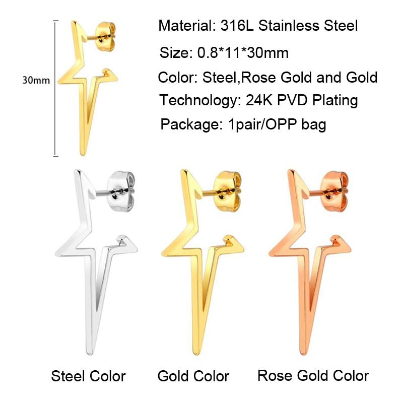 Fashion Women Ear Studs Jewelry Stainless Steel Star Stud Earrings