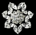 Vintage Style Clear Marquise Crystal Diamante Wedding Dress Brooch