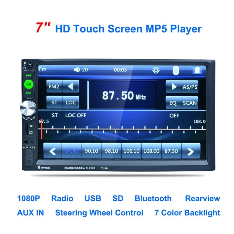 """imágenes para 7023B 7 """"pulgadas de Pantalla Táctil 2DIN Coche Radio Auto Video Audio MP4 Reproductor MP5 1080 P HD TFT Bluetooth FM/USB/AUX + de Visión Trasera cámara"""