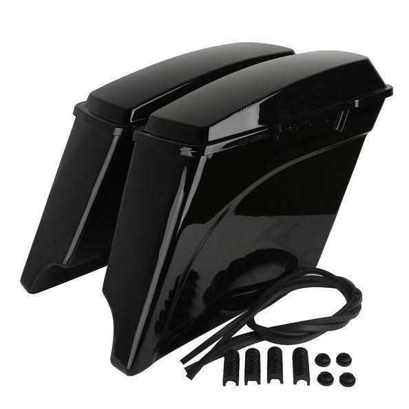 Vivid Black 5 Extended Hard Saddlebags Trunk W/ Lid For Harley Touring FLH FLT 93-13 Electra Road Glide FLHT FLTR