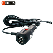 QUIDUX Dual USB Car Charger Adapter 12V 24V To 5V For Smart Phone GPS Car DVR Vehicle Charging with 3.5meter cable Mini USB port