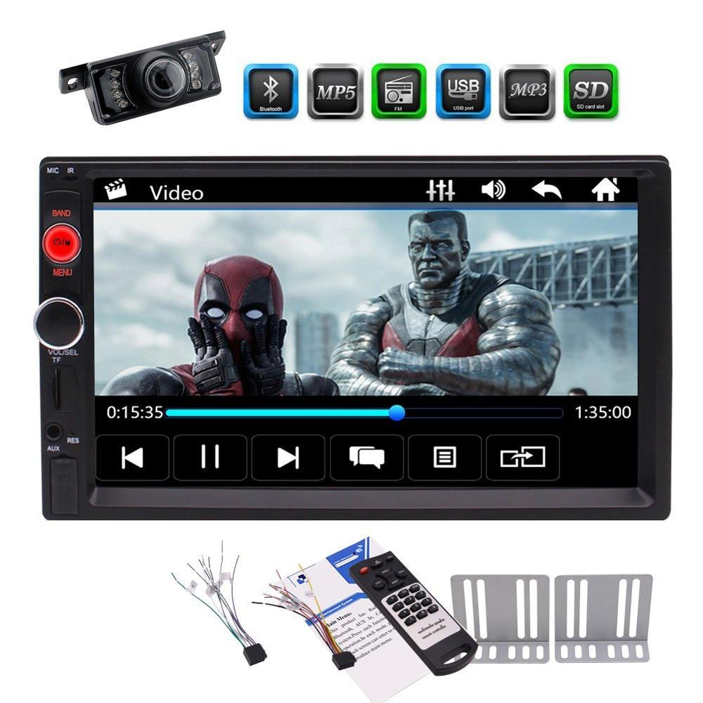 7'' 2 Din Car MP5 Player Automotive Car Stereo Entertainment MP3 Music Video Player FM Radio Unit USB Aux Bluetooth+Rear Camera