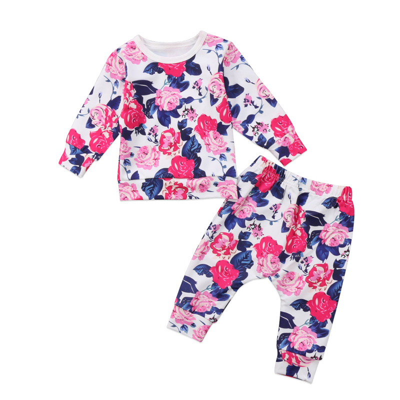 2PCs New Casual Newborn Infant Baby Girls Clothes Flower long Sleeve T-shirt Tops Floral Pants Outfits Set